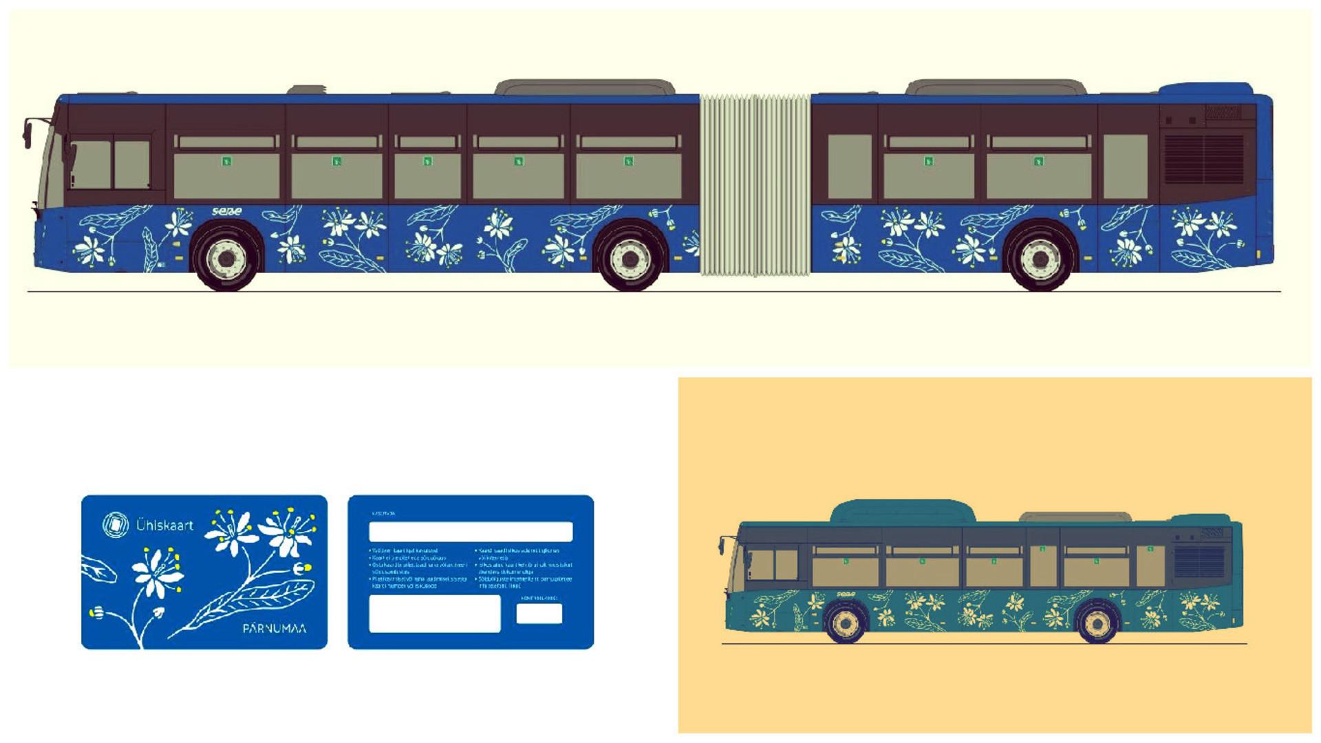 В июле в Пярну будут ходить новые автобусы с изображением цветов липы